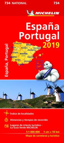 MAPA 734 ESPAÑA PORTUGAL 2019