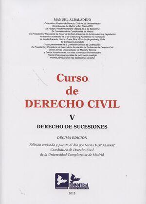 CURSO DE DERECHO CIVIL, V. 2013. DERECHO DE SUCESIONES