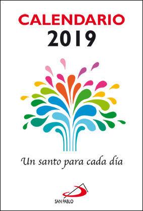 CALENDARIO UN SANTO PARA CADA DÍA 2019 - LETRA GRANDE