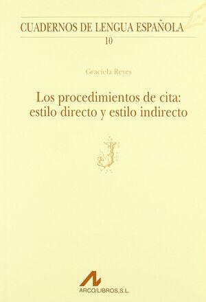 PROCEDIMIENTOS DE CITA: ESTILO DIRECTO Y ESTILO INDIRECTO (J)