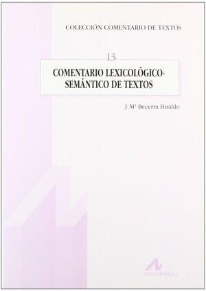 COMENTARIO LEXICOLÓGICO-SEMÁNTICO DE TEXTOS