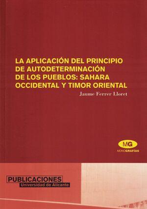 LA APLICACIÓN DEL PRINCIPIO DE AUTODETERMINACIÓN DE LOS PUEBLOS: SAHARA OCCIDENT