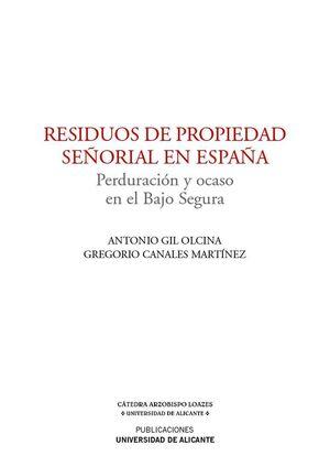 RESIDUOS DE PROPIEDAD SEÑORIAL EN ESPAÑA