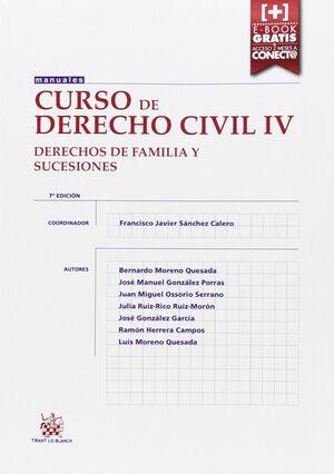 CURSO DE DERECHO CIVIL IV DERECHOS DE FAMILIA Y SUCESIONES 7ª EDICIÓN 2015